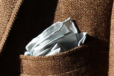 Gentleman's Pearl / Silvery-Grey Hand-Rolled All Silk Pocket Square/Handkerchief