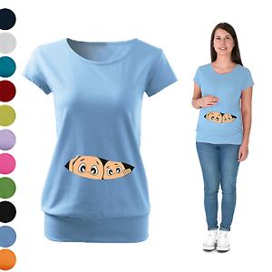 TWINS BOYS  Maternity Pregnancy T-shirt  Funny  baby shower gift Peeking baby