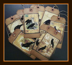 EIGHT DESIGNS OLD CROW PRIMITIVE HANG TAGS FALL DESIGNS