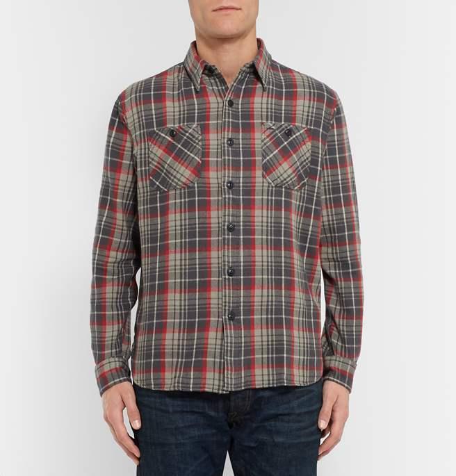 Double Ralph Lauren RRL Mens Flannel Red Grey Button Down Work Shirt NWT XS
