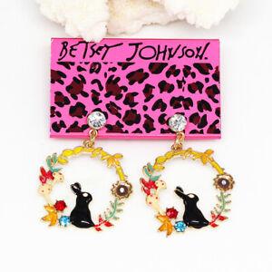Betsey-Johnson-Enamel-Crystal-Flower-Rabbit-Round-Earbob-Dangle-Earrings-Gift