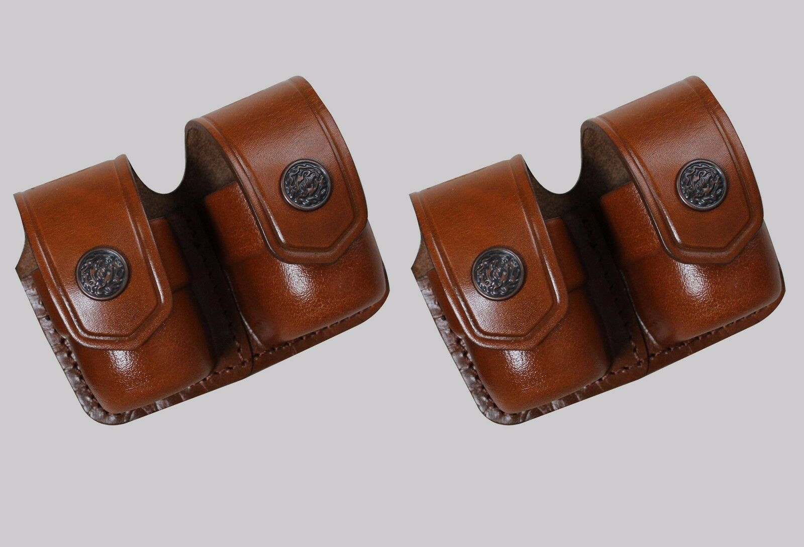 K3838-SW Two Double Speedloader Case Pouch S&W Magnum Genuine Leather Handmade