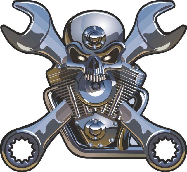 2x Wrench Crossbones Skull Stickers Motorcycle Gas Tank V Engine bumper moto