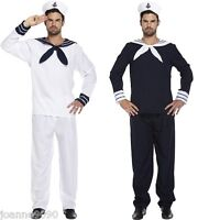 MENS SAILOR MAN FANCY DRESS COSTUME WITH HAT NAVAL MARINE OFFICER CAPTAIN OUTFIT