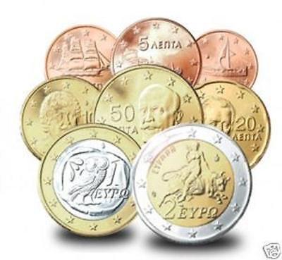 GREECE GREEK  EUROSET 1c-2e year 2008 8 coins  UNC