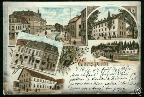 Wörishofen, Farb-Litho mit mehreren Hotels, 1897