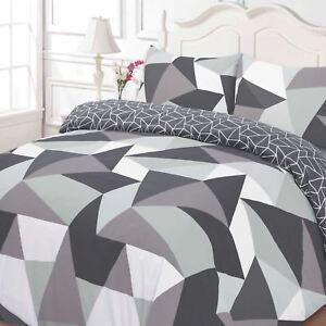 Formes-Geometrique-Set-Housse-de-Couette-Simple-Noir-Gris-2-Modeles-en-1