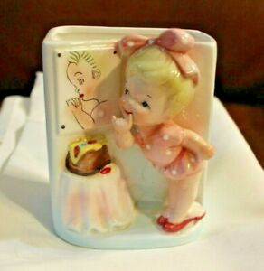 Relpo 1960 Planter Little girl w/ Mirror Made in Japan Samson Import 51128