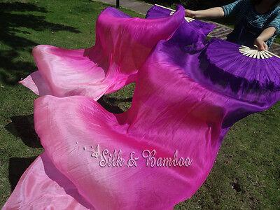 +bag! 1.8m purple~various colors belly dance silk fan veil, free shipping!