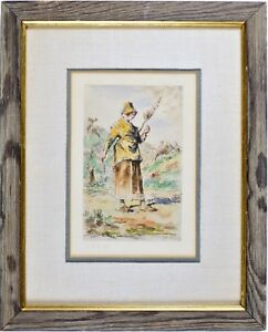 Antique-Etching-Print-J-F-MILLET-Pencil-Signed-Framed-Very-good-Condition
