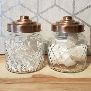Details About Set Of 2 Cotton Bud Pad Ball Storage Jars With Copper Lids Glass Pots Bathroom