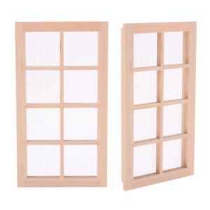 2 Pack 1/12 Unpainted Wooden Door Window Frame Furniture For Bedroom Kitchen   EBay