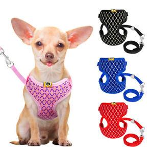 Breathable-Pet-Bling-Harness-Leash-Set-Dog-Cat-Soft-Mesh-Vest-Puppy-Clothes-Lead