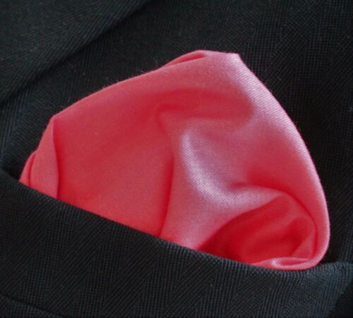 Hankie Pocket Square Cotton Handkerchief Solid Coral CH248