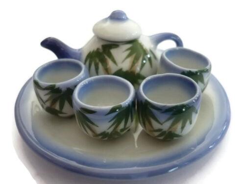 7 Pcs Bamboo Blue Edge Tea Set Dollhouse Miniatures Ceramic Kitchenware Large