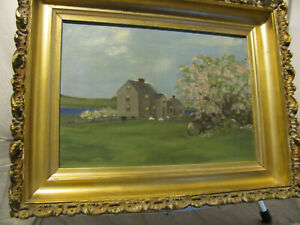 Antique-O-C-c-1890-039-s-Folk-Art-Painting-Early-American-House-by-Flowering-Tree