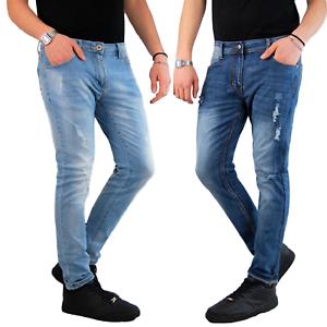 Jeans-Uomo-Slim-fit-Strappati-Pantaloni-Elasticizzati-Casual-Denim-Blu