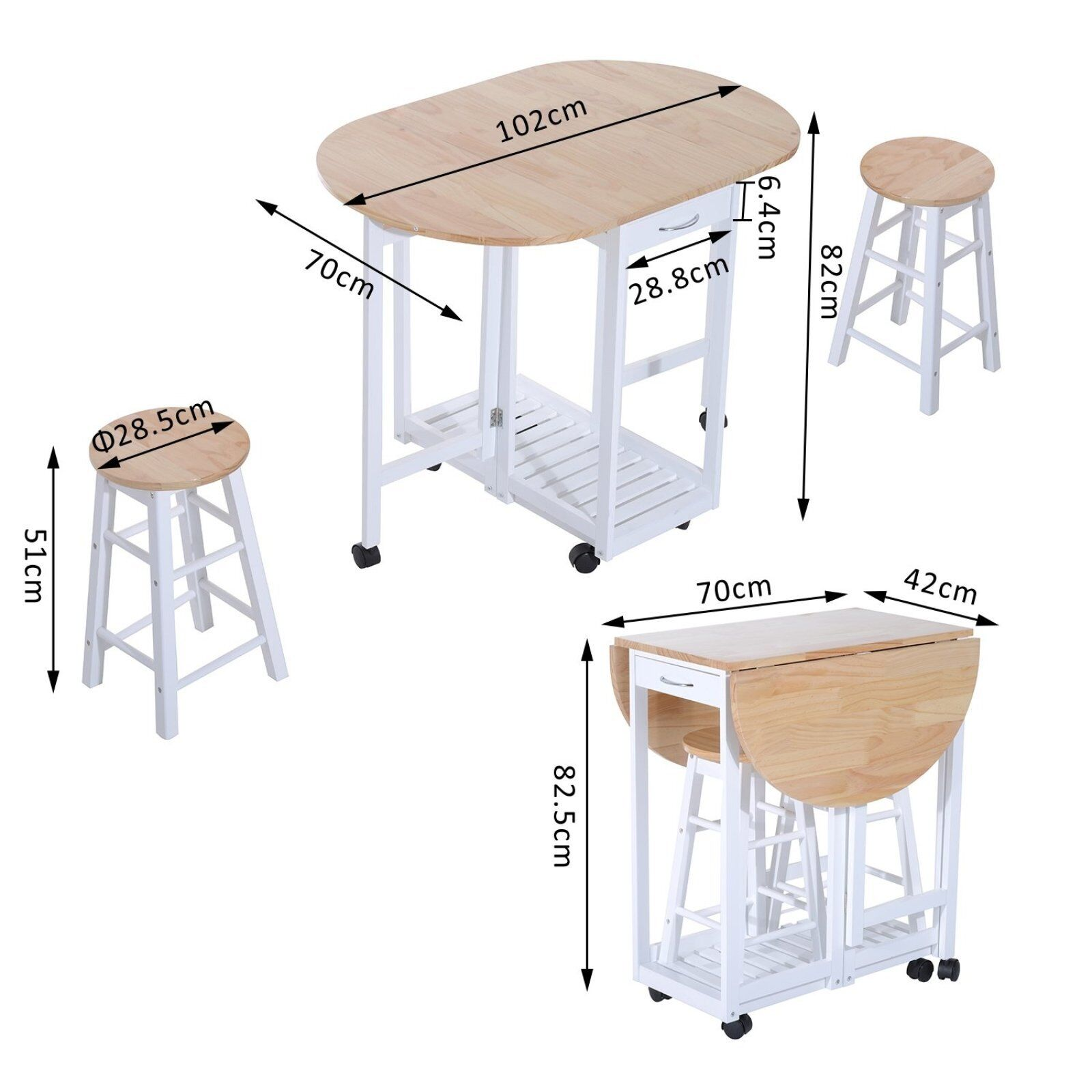 Breakfast Bar Table 2 Stools Extendable Dining Set Pu Chairs Kitchen Island Seat For Sale Ebay