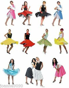 Ladies-Womens-Girls-1950s-Rock-n-Roll-Polka-Dot-Dance-Skirt-Fancy-Dress-Costume