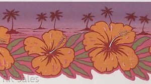 Hawaiian Hibiscus Flowers Pink Purple Palm Trees Tropical  Wall Wallpaper Border