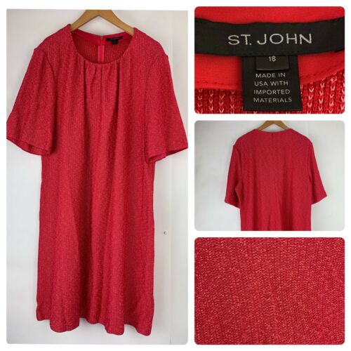 St John Collection Knit Red Dress Size 18 St John