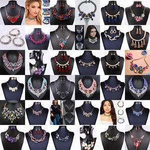 Fashion-Women-Crystal-Pendant-Choker-Chunky-Statement-Chain-Bib-Necklace-Jewelry