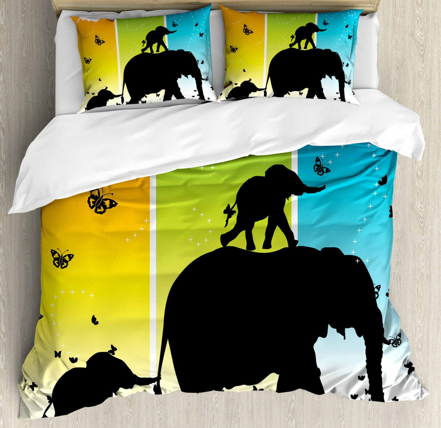Zoo Duvet Cover Set with Pillow Shams Fantastic colorful Nature Print