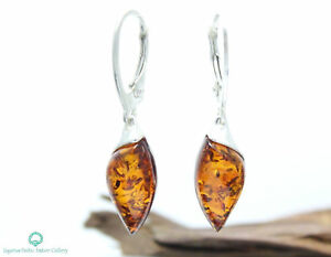 NATURAL-BALTIC-AMBER-STERLING-SILVER-925-Earrings-Droop-Dangle-Certified-amp-BOX