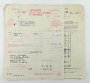 Vintage Sales Receipts 1950s R.W. Horner Manchester- Raleigh Industries Limited