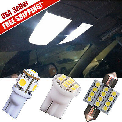 11 PCS White LED lights Interior package Kit T10 & 31mm Dome Map + Tag lamp for