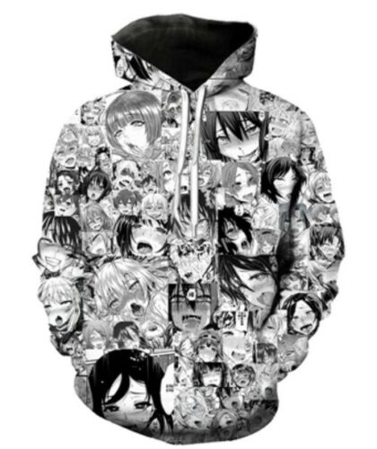 6XL Funny 3D Ahegao Anime Hoodies Full Print Women Men Fashion Cartoon Size S