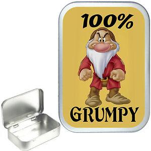 100% Grumpy, Silver Hinged Tobacco Tin, Cigarette Tin, Pill Box, .1oz & 2oz