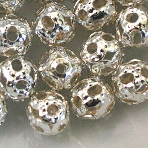 """20 Perles Boules Métal FILIGRANES  /""""Argenté/""""  Ø 4 mm"""