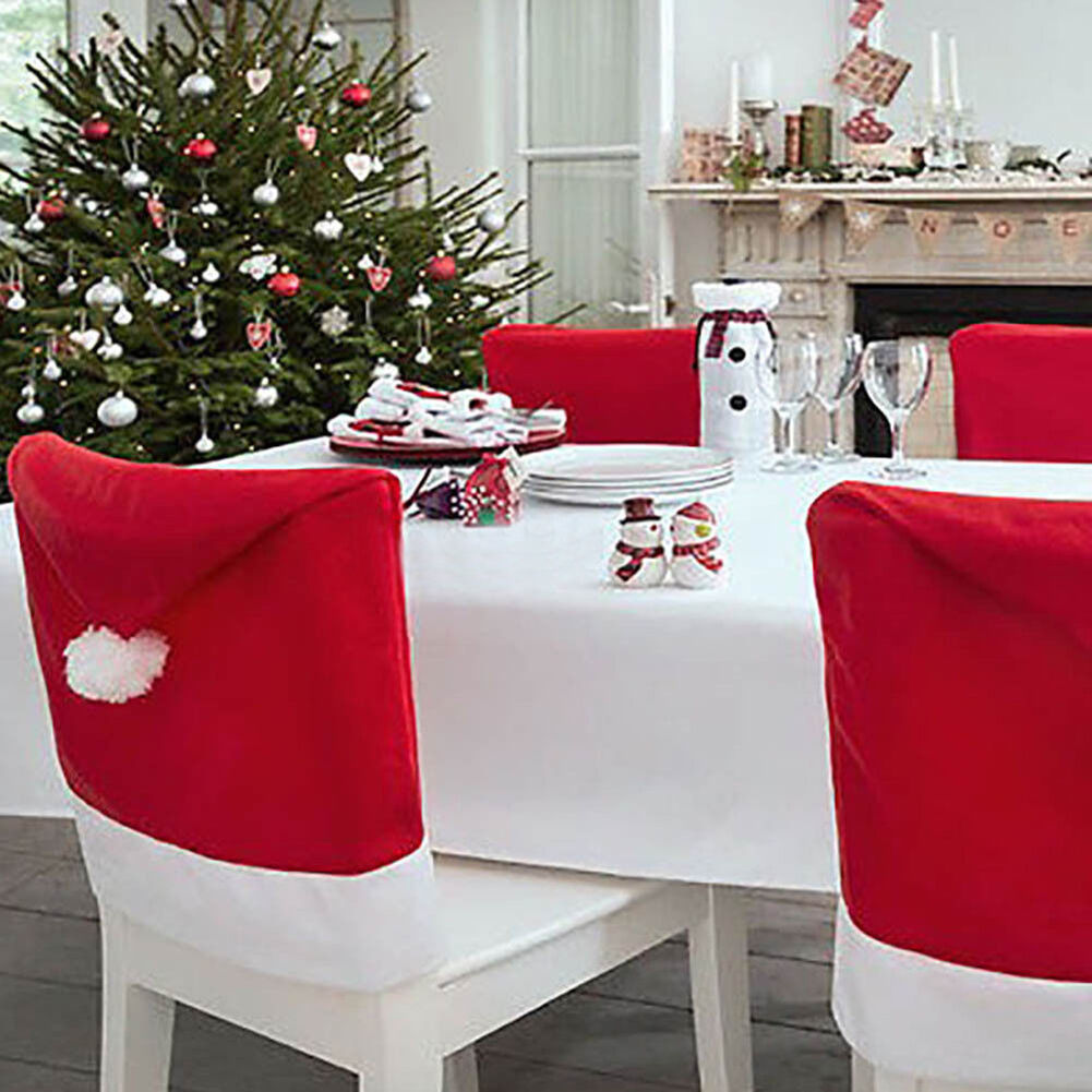 Christmas Kitchen Accessories: Santa Hat Chair Covers Christmas Decor Kitchen Dinner Xmas
