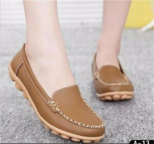 Women-039-s-Leather-Casual-Slip-On-Loafers-Bowed-Flat-Boat-Shoes-Moccasin-Soft