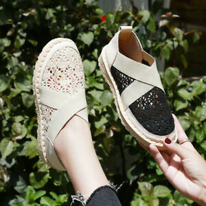 Ladies-Women-039-s-Fashion-Casual-Lace-Breathable-Slip-On-Flat-Comfortable-Shoes