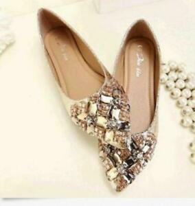 Fashion-Womens-Rhinestones-Pointed-Toe-Flats-Shoes-Pumps-Loafers-Casual-Plus