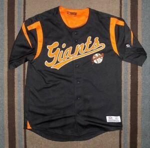 best service 95f99 34248 Details about True Fan San Francisco Giants Baseball Jersey Black / Orange  Size Large 42-44