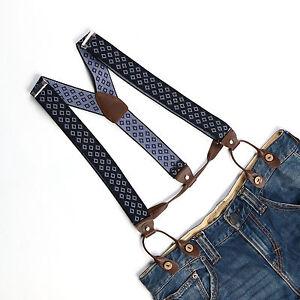 82e8cf317 Image is loading Men-Women-Unisex-Suspenders-Adjustable-Braces-Button-Holes-