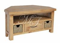 Solid Wood Chunky Pine Widescreen Lcd Plasma Corner Tv Cabinet With 2 Baskets