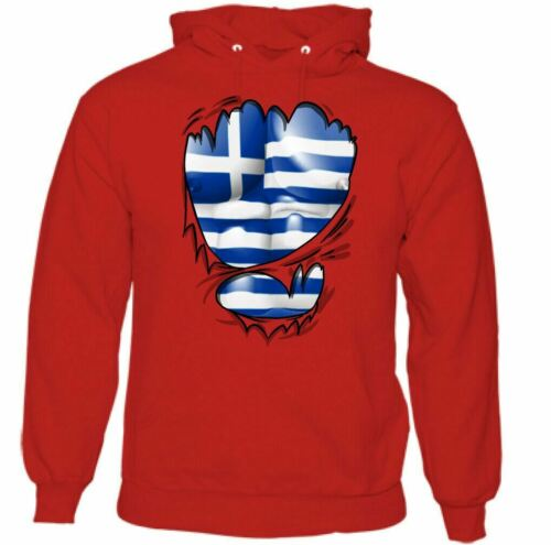 Ripped PAVILLON GREC HOMME Grèce INDEPENDENCE DAY Sweat à Capuche Football Gym Top Kit MMA
