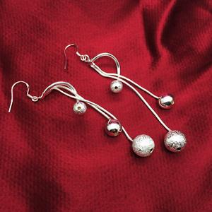 Women-Silver-Plated-925-Double-Beads-Tassel-Snake-Link-Ear-Hook-Earring-Jewelry