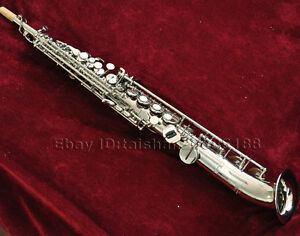 Details about Professional silver nickel curved bell soprano sax saxophone  high F G Key w/case