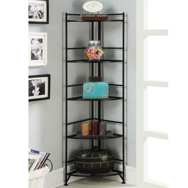5 Tier Metal Corner Shelf Tall Black End Display Folding Book Room Home Office