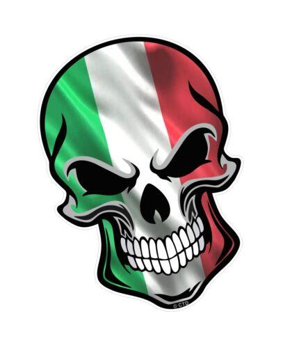 Grand gothique biker crâne italien il tricolore italie drapeau vinyle autocollant voiture décalque