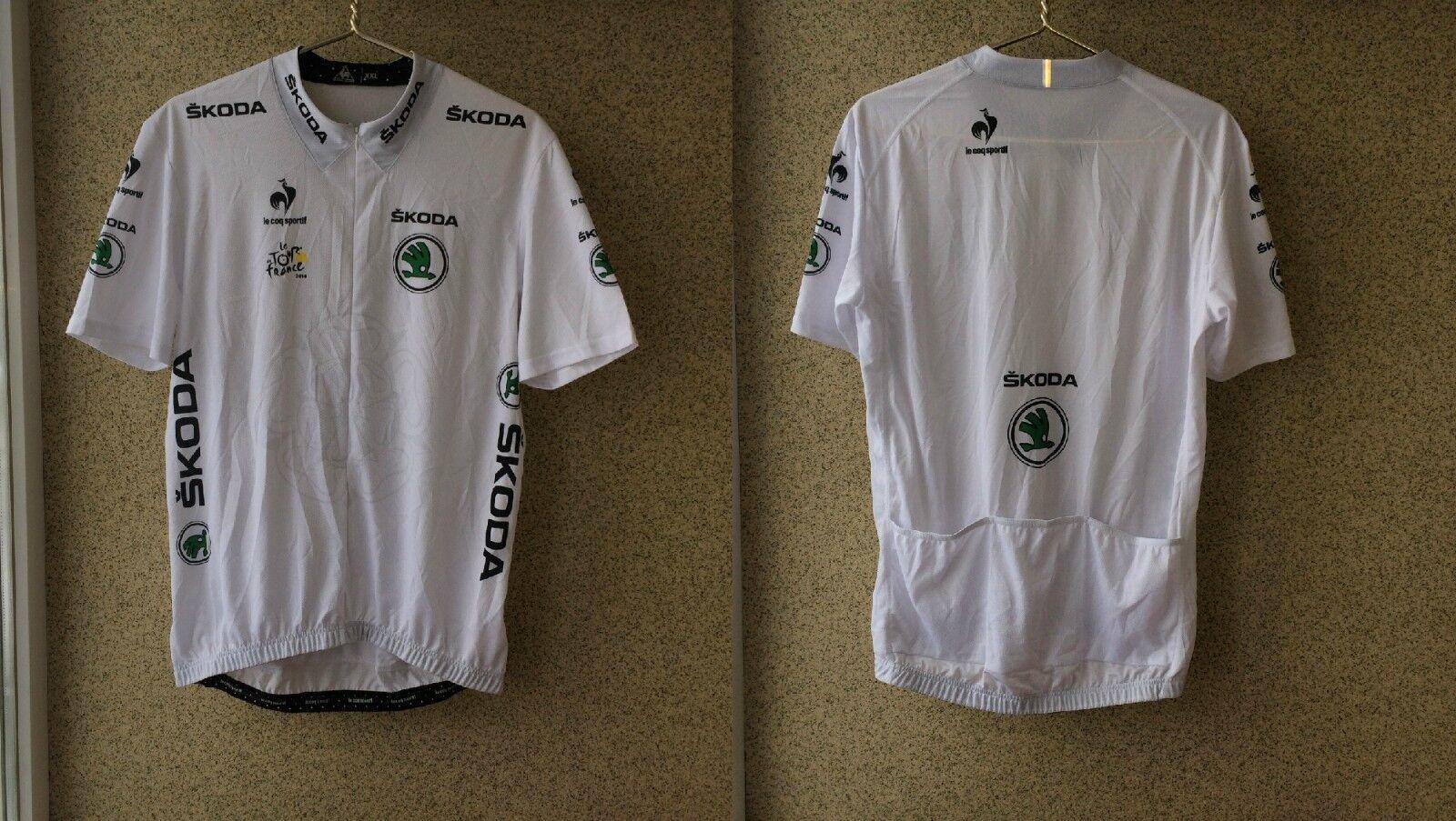 TOUR DE FRANCE 2014 WHITE JERSEY 2XL le coq sprtif France Camiseta cycling