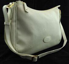 THE BRIDGE cream leather trim logo shoulder crossbody tote grab handbag