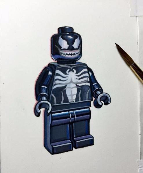 Lego Venom Venom Venom Spiderman Minifigure Painting hand made artwork 09883d