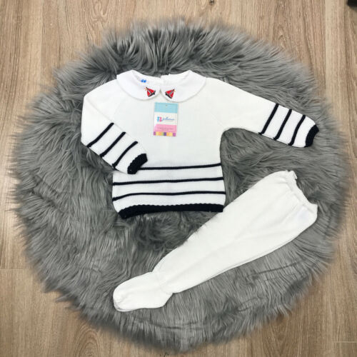 Boys Spanish Knitted Set White /& Blue Knitted Set Spanish Baby Clothes