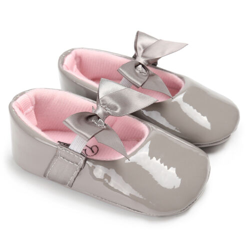 So Sweet Bowknot Patent Soft Pram Shoes Infant Baby Girl Mary Jane Newborn to 18